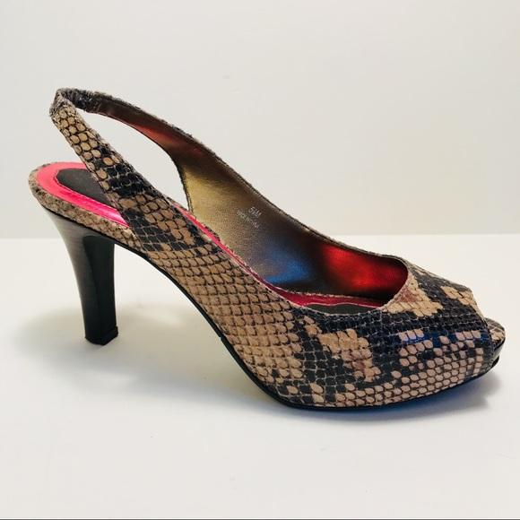 54a4623085d RSVP Snake Skin Peep Toe Slingback Platforms